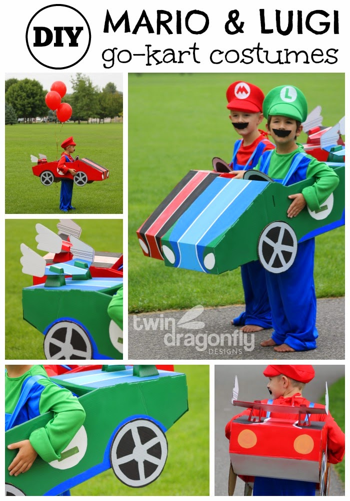 Mario és Luigi go kart kosztümök